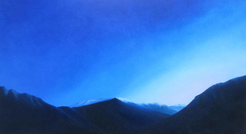 mountains 2016 oil on wood 28x51