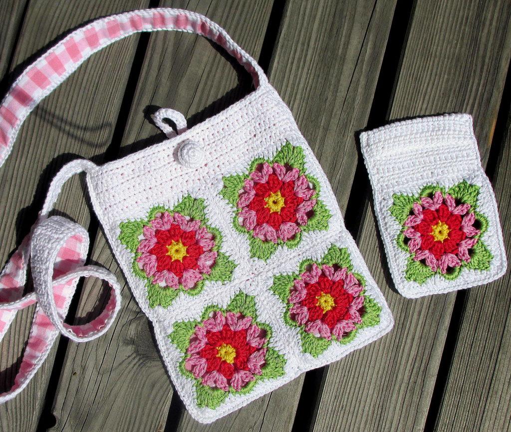 pursecase white green pink