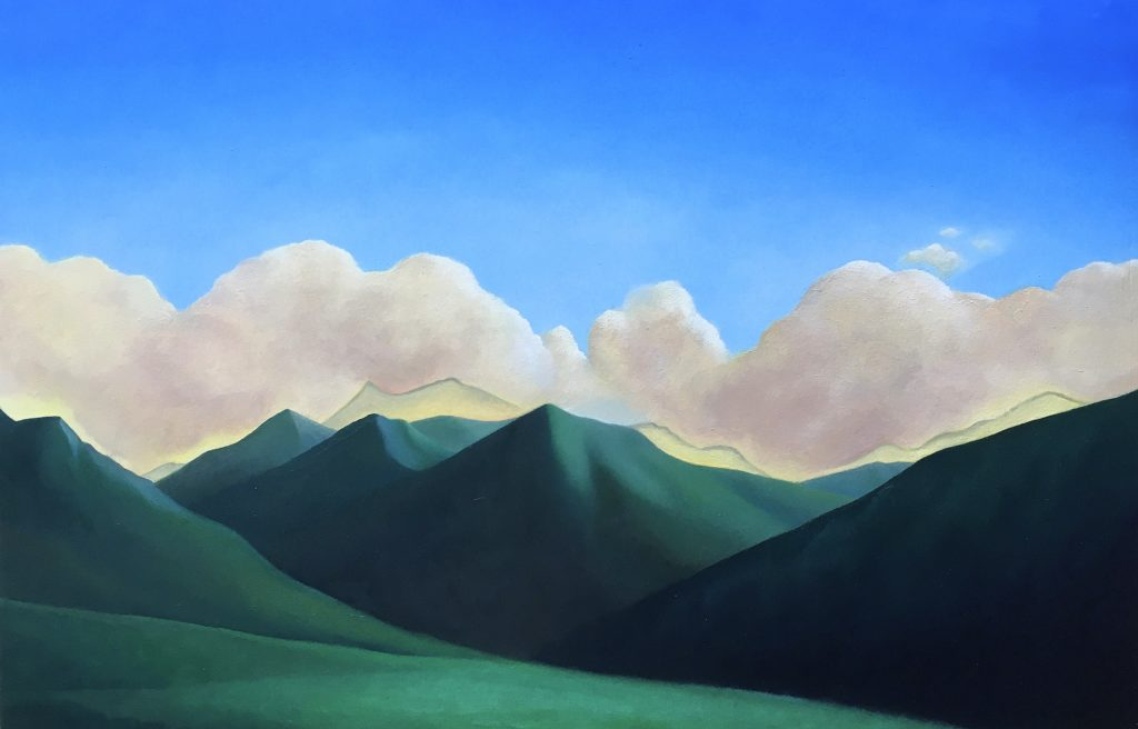 green mountains 2019 oil on wood 37x60