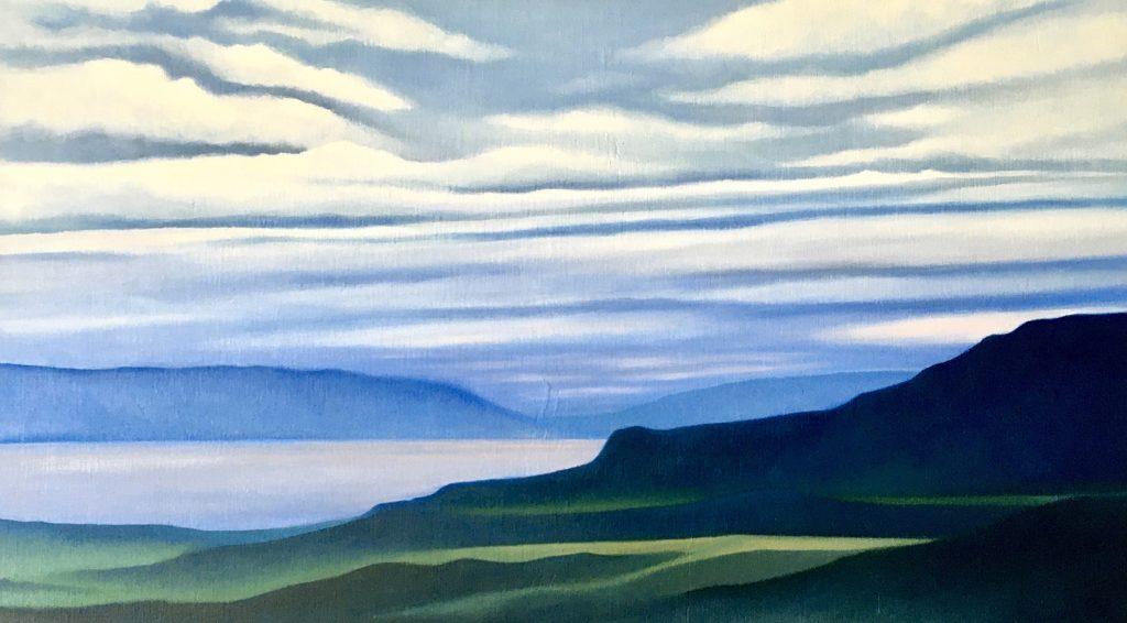 blue landscape 2019 oil on wood 35x62