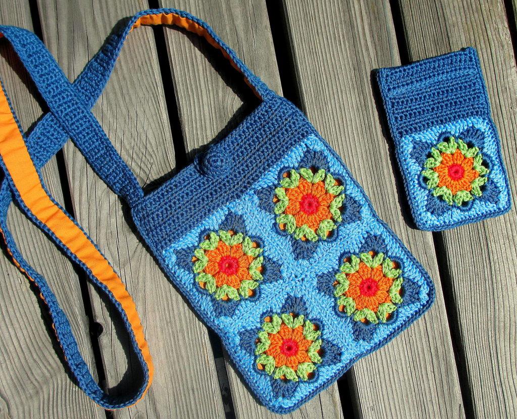 pursecase blue turquoise orange