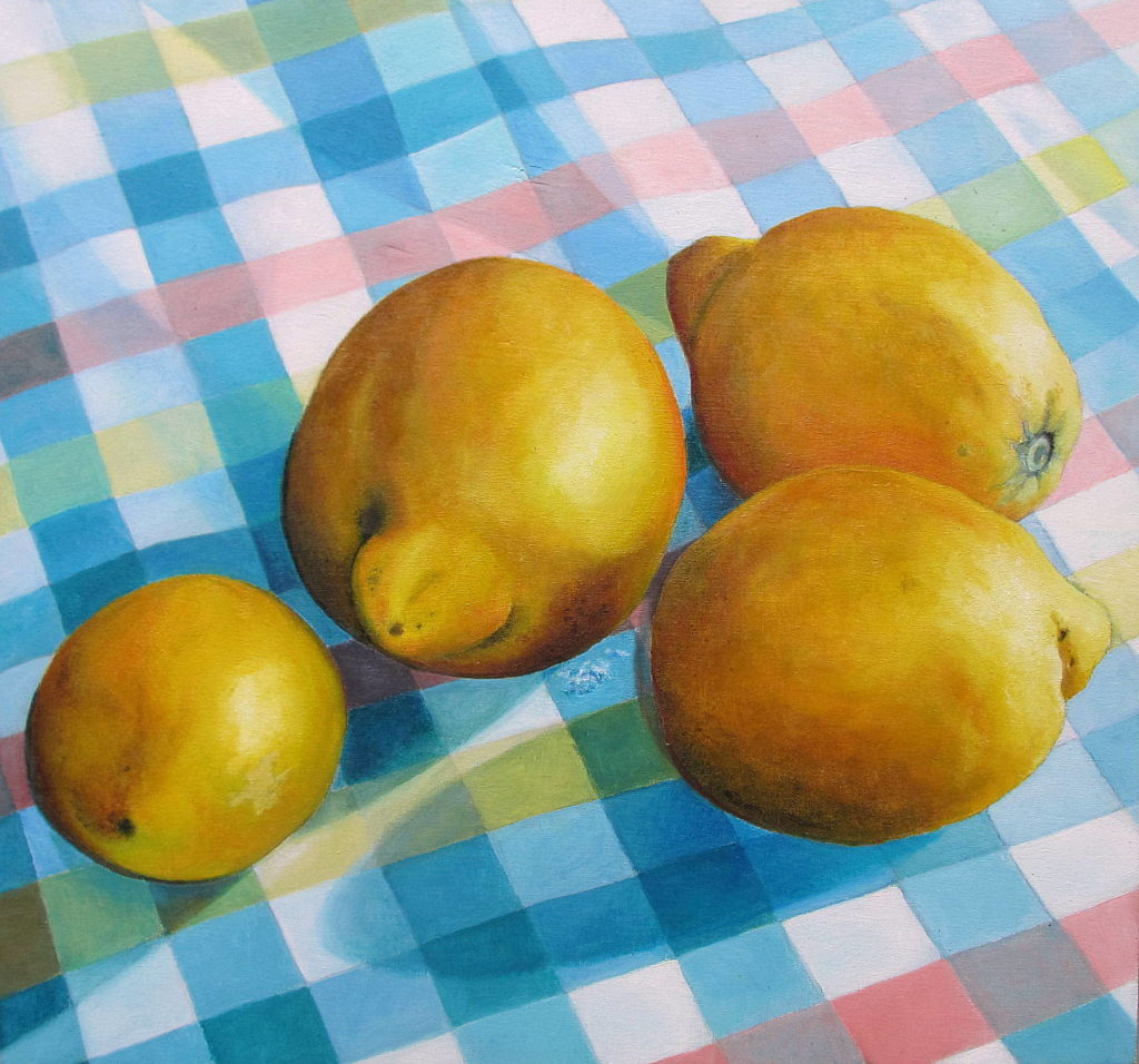 lemons 2013 oil on wood 30x30